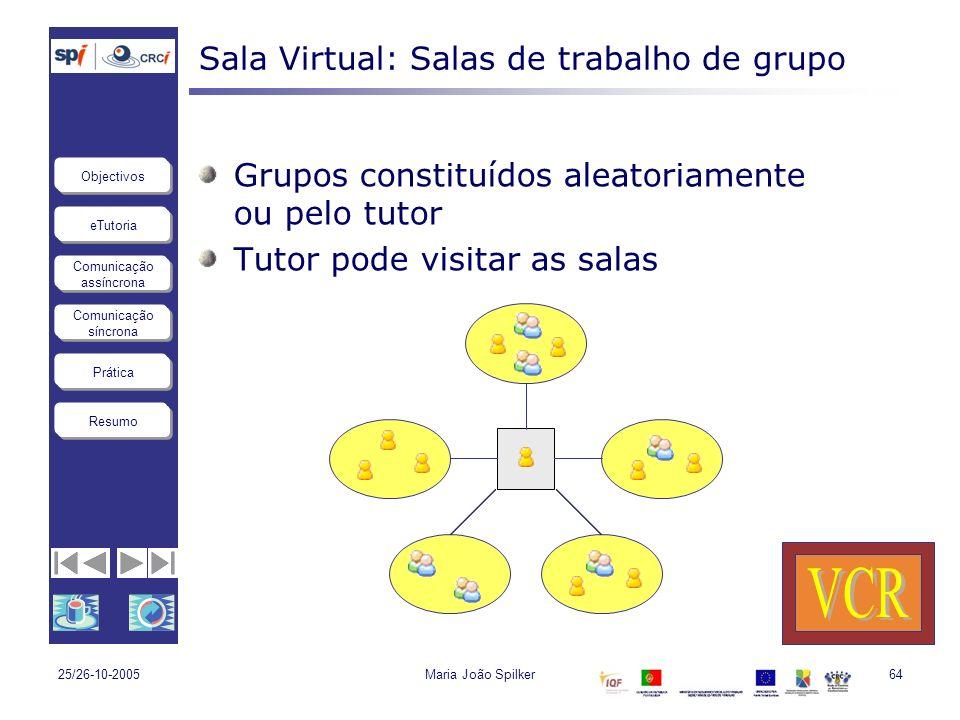 eTutoria Comunicação assíncrona Comunicação síncrona Objectivos Resumo Prática 25/26-10-2005Maria João Spilker64 Sala Virtual: Salas de trabalho de gr