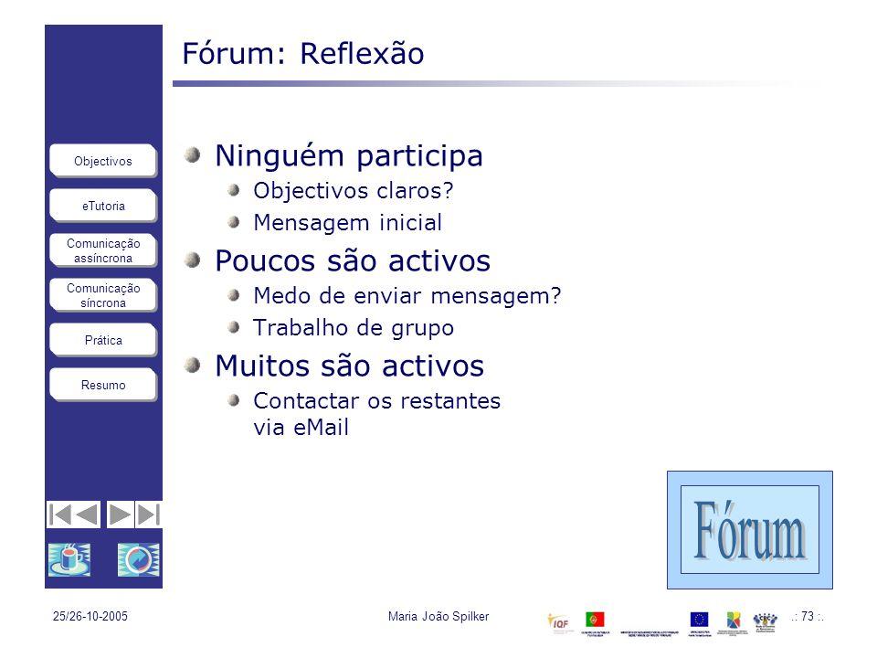 eTutoria Comunicação assíncrona Comunicação síncrona Objectivos Resumo Prática 25/26-10-2005Maria João Spilker.: 73 :. Fórum: Reflexão Ninguém partici