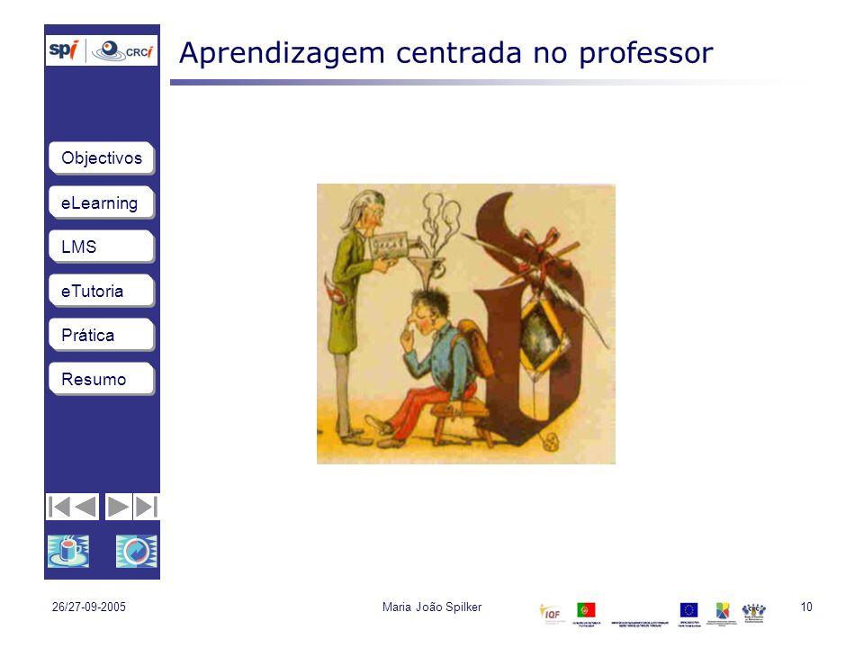 eLearning LMS eTutoria Objectivos Resumo Prática 26/27-09-2005Maria João Spilker10 Aprendizagem centrada no professor