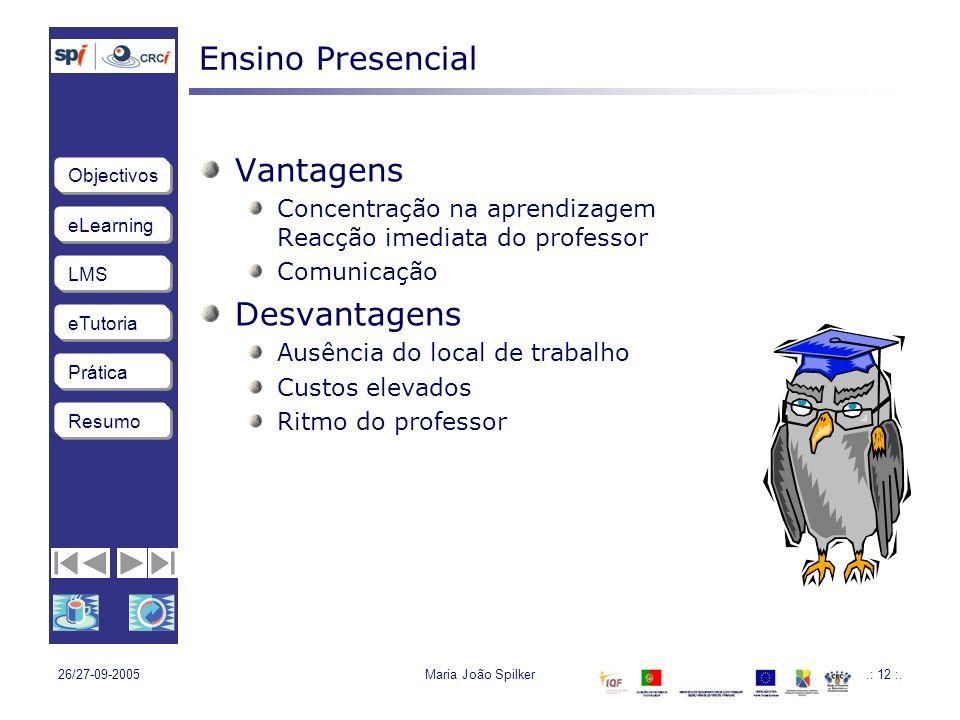 eLearning LMS eTutoria Objectivos Resumo Prática 26/27-09-2005Maria João Spilker.: 12 :.
