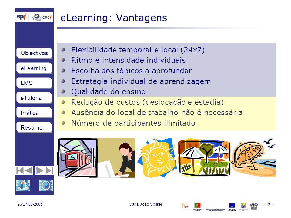 eLearning LMS eTutoria Objectivos Resumo Prática 26/27-09-2005Maria João Spilker.: 19 :.