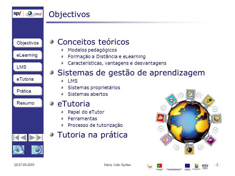 eLearning LMS eTutoria Objectivos Resumo Prática 26/27-09-2005Maria João Spilker3 eLearning eTutoria na prática eTutoria Learning Management System eLearning