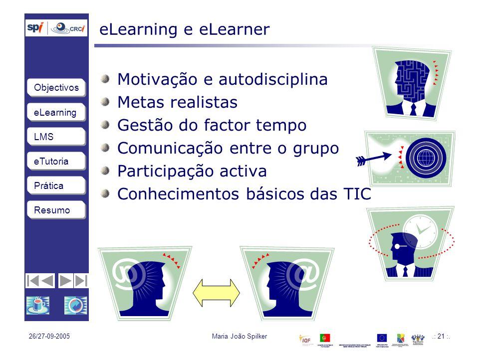 eLearning LMS eTutoria Objectivos Resumo Prática 26/27-09-2005Maria João Spilker.: 21 :.