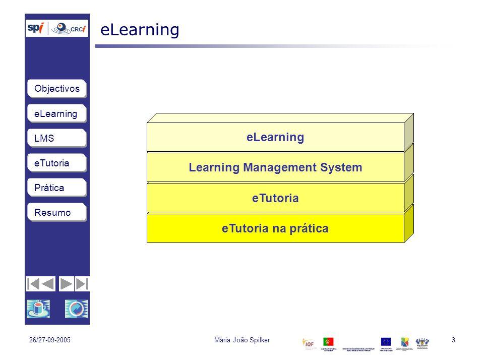 eLearning LMS eTutoria Objectivos Resumo Prática 26/27-09-2005Maria João Spilker.: 44 :.