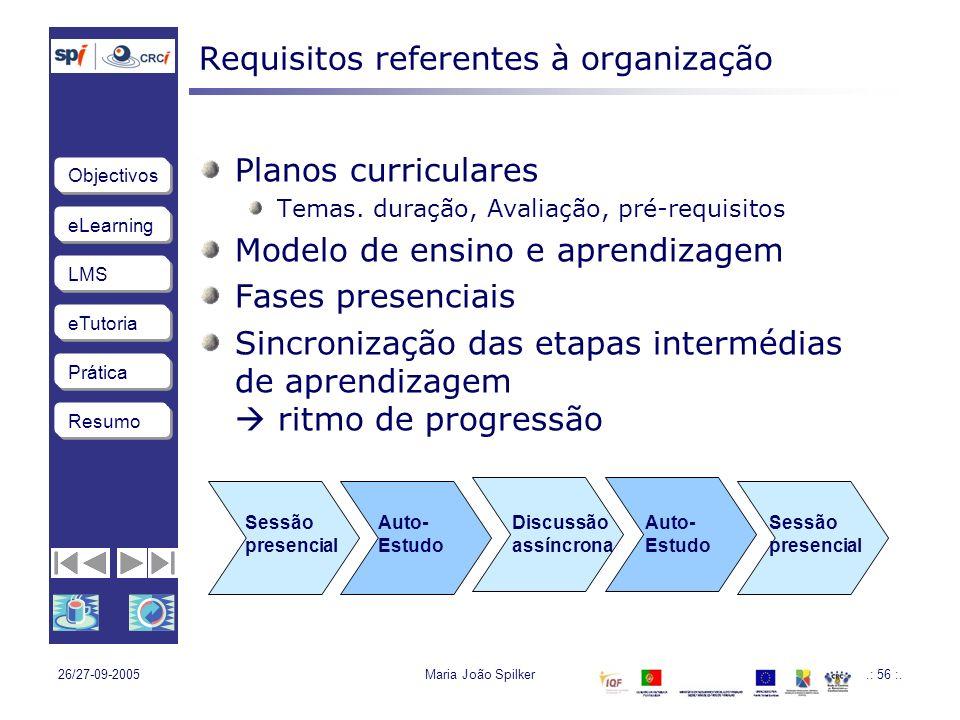 eLearning LMS eTutoria Objectivos Resumo Prática 26/27-09-2005Maria João Spilker.: 56 :.