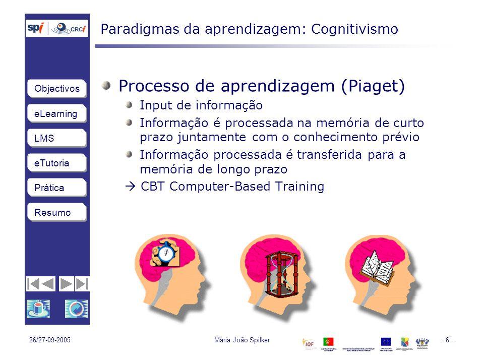 eLearning LMS eTutoria Objectivos Resumo Prática 26/27-09-2005Maria João Spilker.: 57 :.