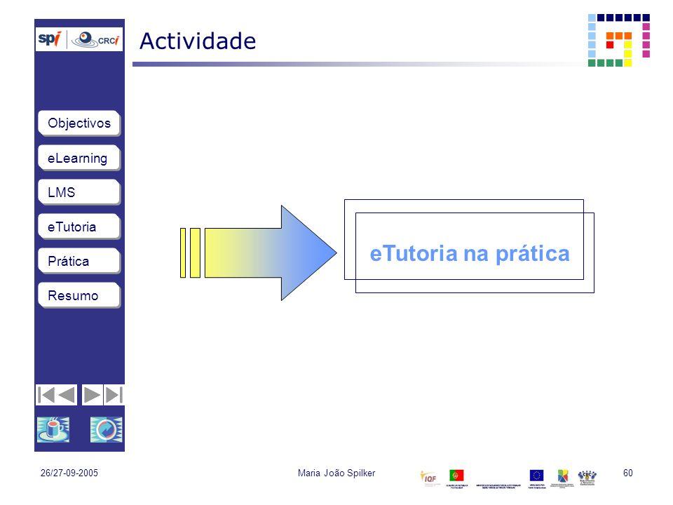 eLearning LMS eTutoria Objectivos Resumo Prática 26/27-09-2005Maria João Spilker60 Actividade eTutoria na prática