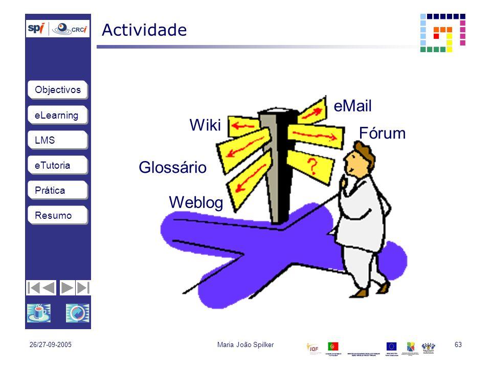 eLearning LMS eTutoria Objectivos Resumo Prática 26/27-09-2005Maria João Spilker63 Actividade eMail Glossário Wiki Weblog Fórum