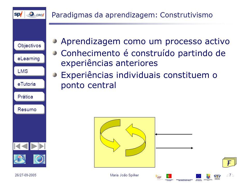 eLearning LMS eTutoria Objectivos Resumo Prática 26/27-09-2005Maria João Spilker.: 7 :.