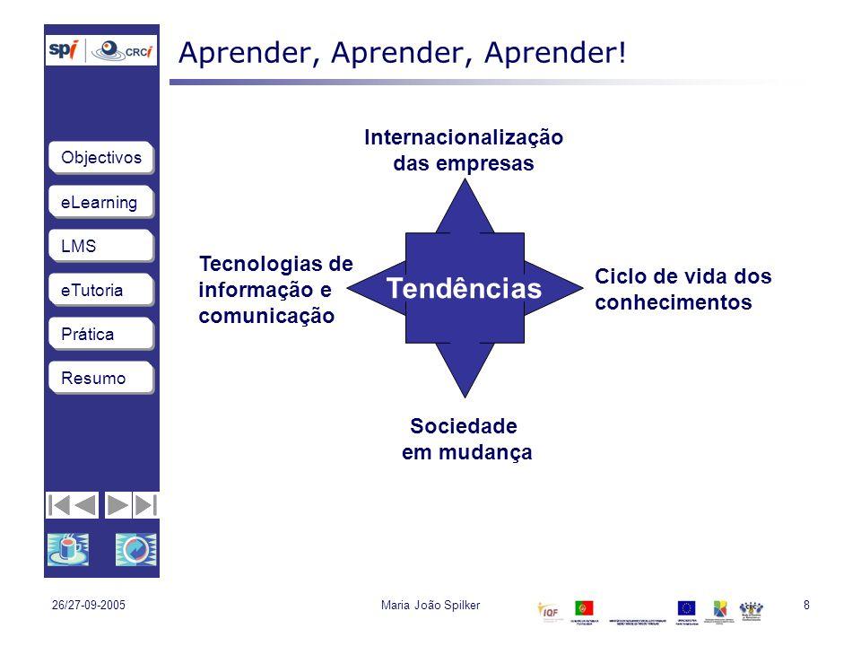 eLearning LMS eTutoria Objectivos Resumo Prática 26/27-09-2005Maria João Spilker8 Aprender, Aprender, Aprender.