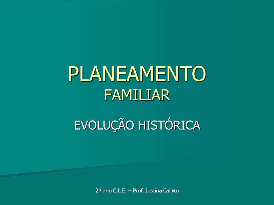 PLANEAMENTO FAMILIAR EVOLUÇÃO HISTÓRICA 2º ano C.L.E. – Prof. Justina Calixto