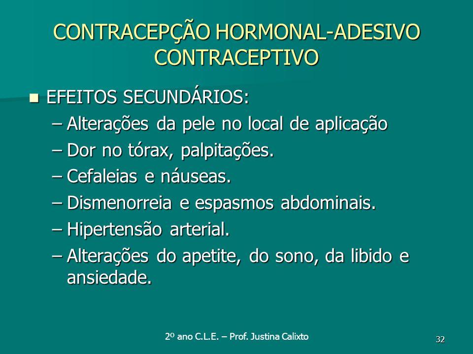 32 CONTRACEPÇÃO HORMONAL-ADESIVO CONTRACEPTIVO EFEITOS SECUNDÁRIOS: EFEITOS SECUNDÁRIOS: –Alterações da pele no local de aplicação –Dor no tórax, palp