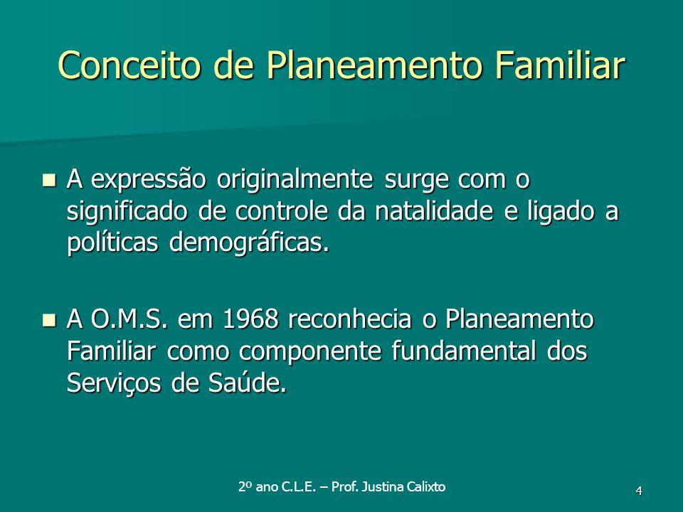 4 Conceito de Planeamento Familiar A expressão originalmente surge com o significado de controle da natalidade e ligado a políticas demográficas. A ex