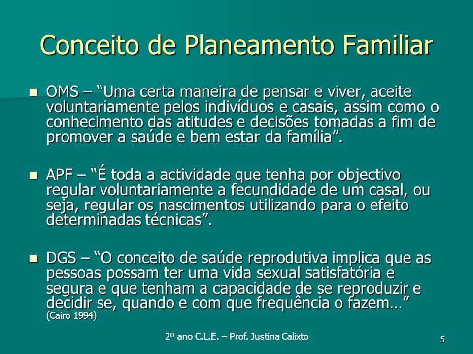 5 Conceito de Planeamento Familiar OMS – Uma certa maneira de pensar e viver, aceite voluntariamente pelos indivíduos e casais, assim como o conhecime