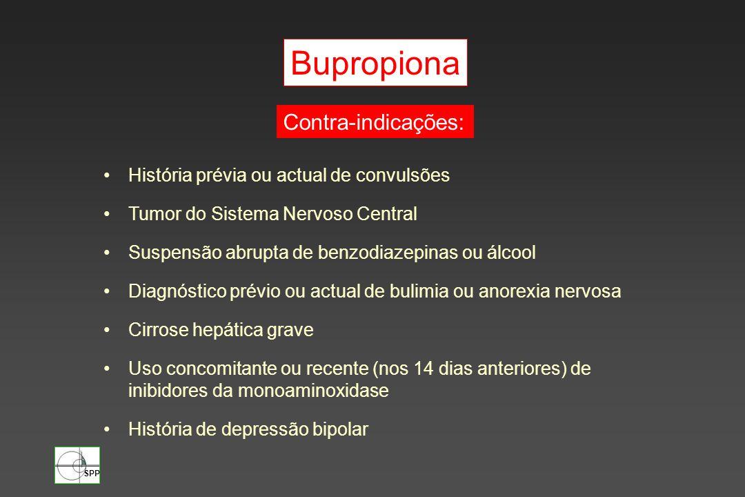 SPP Bupropiona História prévia ou actual de convulsões Tumor do Sistema Nervoso Central Suspensão abrupta de benzodiazepinas ou álcool Diagnóstico pré
