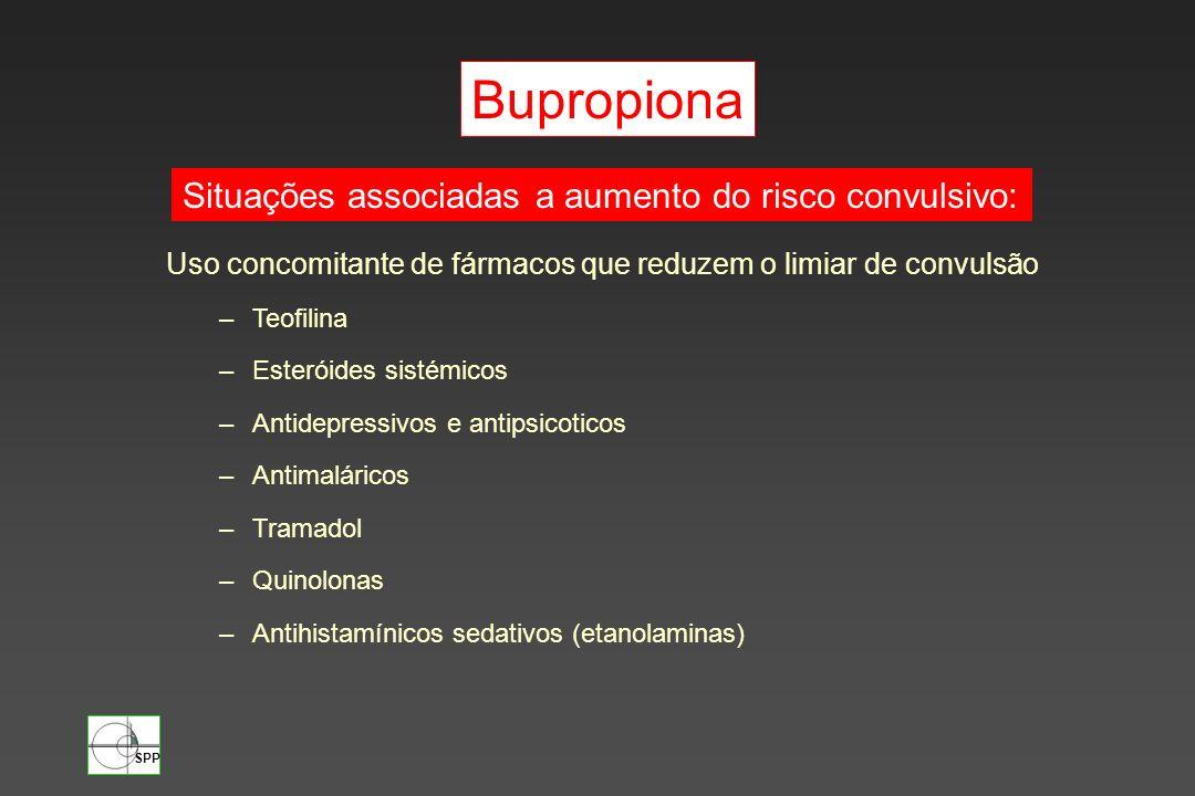 SPP Uso concomitante de fármacos que reduzem o limiar de convulsão –Teofilina –Esteróides sistémicos –Antidepressivos e antipsicoticos –Antimaláricos