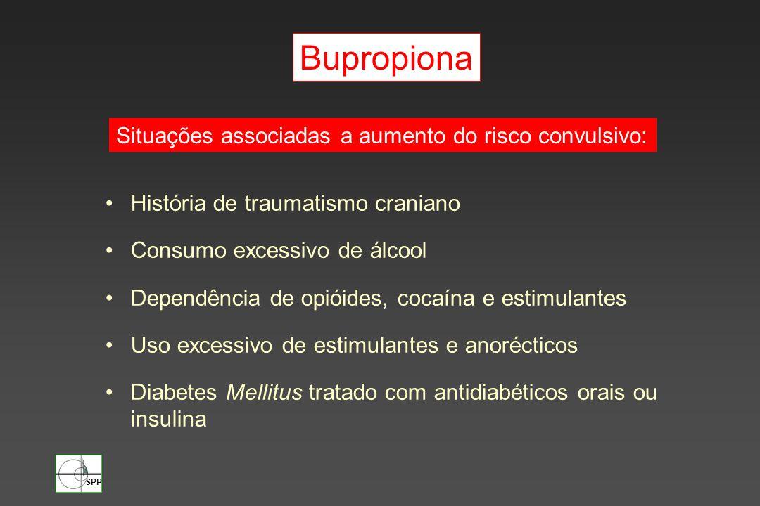 SPP História de traumatismo craniano Consumo excessivo de álcool Dependência de opióides, cocaína e estimulantes Uso excessivo de estimulantes e anoré