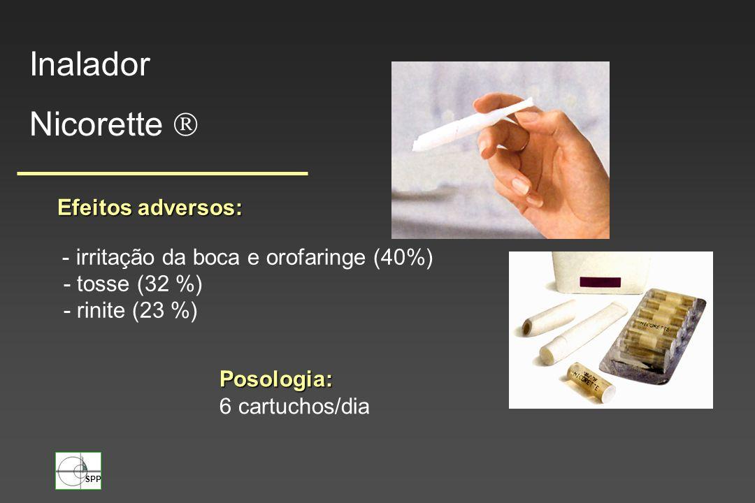 SPP Efeitos adversos: - irritação da boca e orofaringe (40%) - tosse (32 %) - rinite (23 %) Posologia: 6 cartuchos/dia Inalador Nicorette