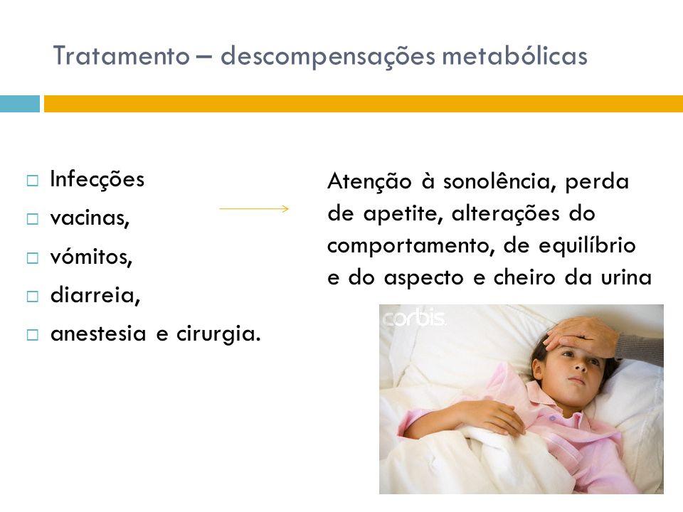 Tratamento – descompensações metabólicas Infecções vacinas, vómitos, diarreia, anestesia e cirurgia. Atenção à sonolência, perda de apetite, alteraçõe