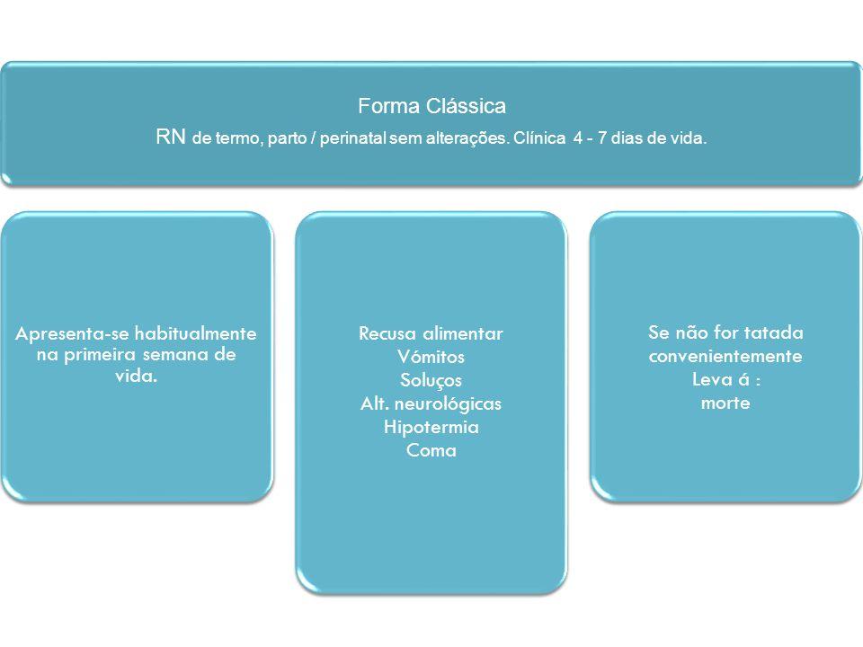 Forma Clássica RN de termo, parto / perinatal sem alterações. Clínica 4 - 7 dias de vida. Apresenta-se habitualmente na primeira semana de vida. Recus