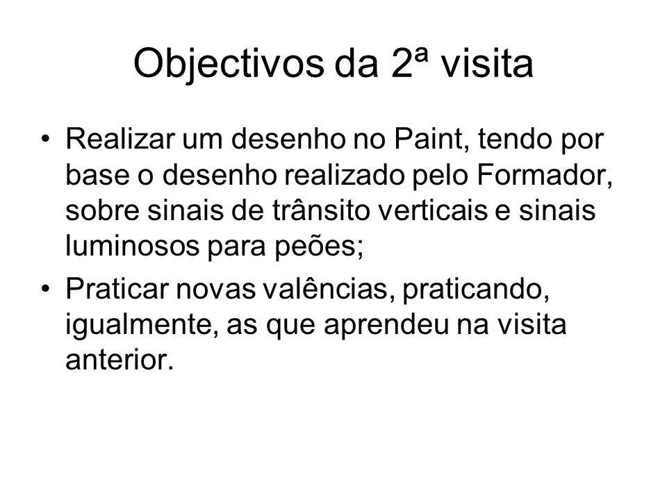 Objectivos da 2ª visita Realizar um desenho no Paint, tendo por base o desenho realizado pelo Formador, sobre sinais de trânsito verticais e sinais lu