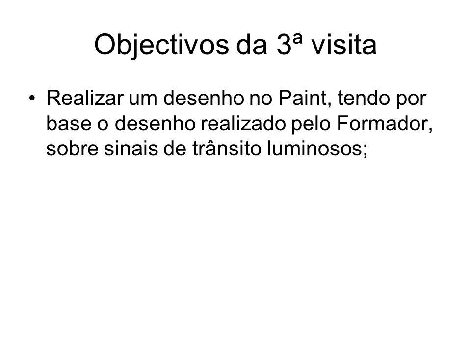 Objectivos da 3ª visita Realizar um desenho no Paint, tendo por base o desenho realizado pelo Formador, sobre sinais de trânsito luminosos;