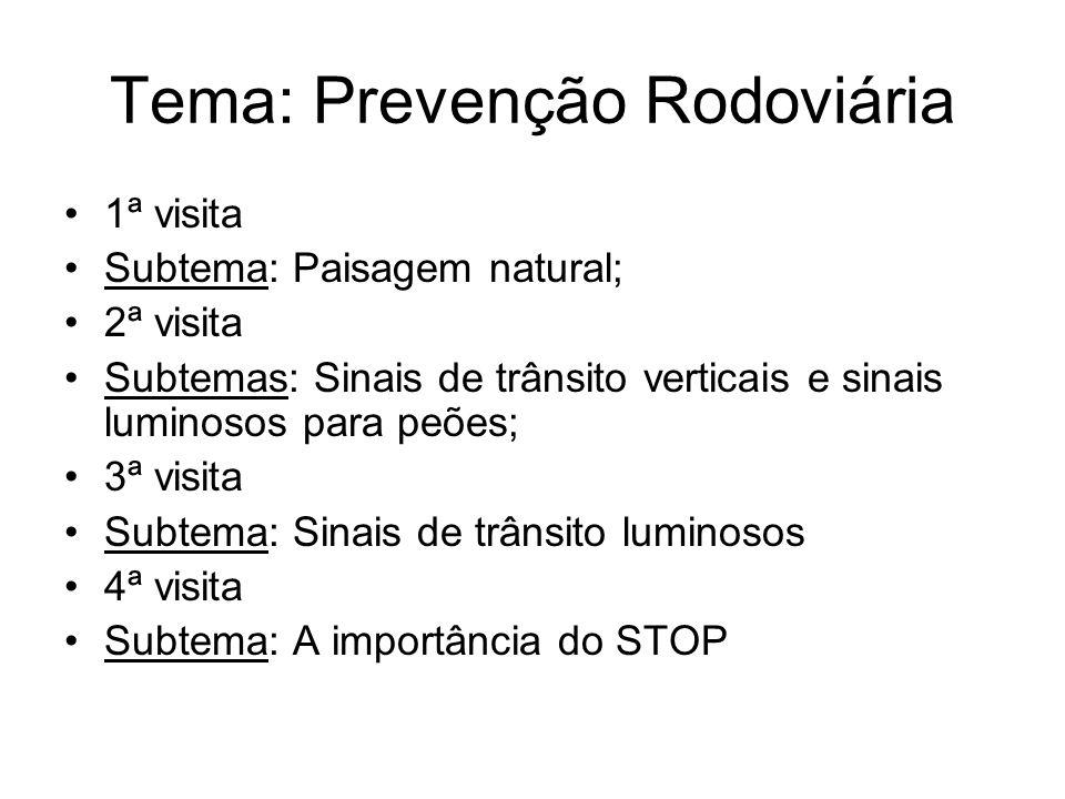 Tema: Prevenção Rodoviária 1ª visita Subtema: Paisagem natural; 2ª visita Subtemas: Sinais de trânsito verticais e sinais luminosos para peões; 3ª vis