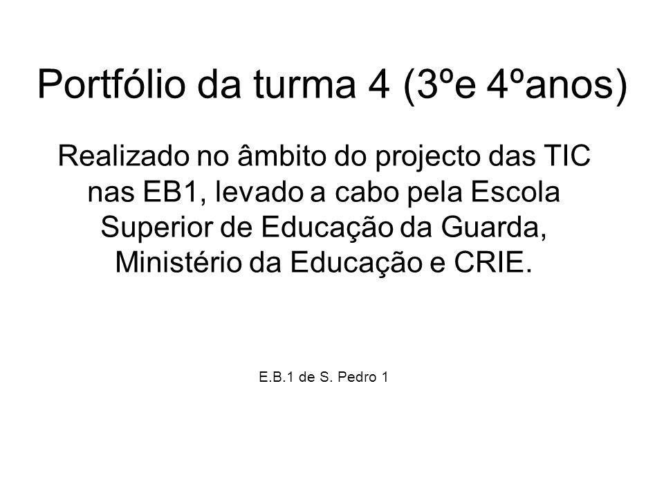 Portfólio da turma 4 (3ºe 4ºanos) Realizado no âmbito do projecto das TIC nas EB1, levado a cabo pela Escola Superior de Educação da Guarda, Ministéri