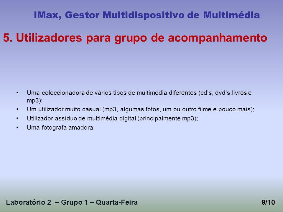Laboratório 2 – Grupo 1 – Quarta-Feira9/10 iMax, Gestor Multidispositivo de Multimédia 5. Utilizadores para grupo de acompanhamento Uma coleccionadora