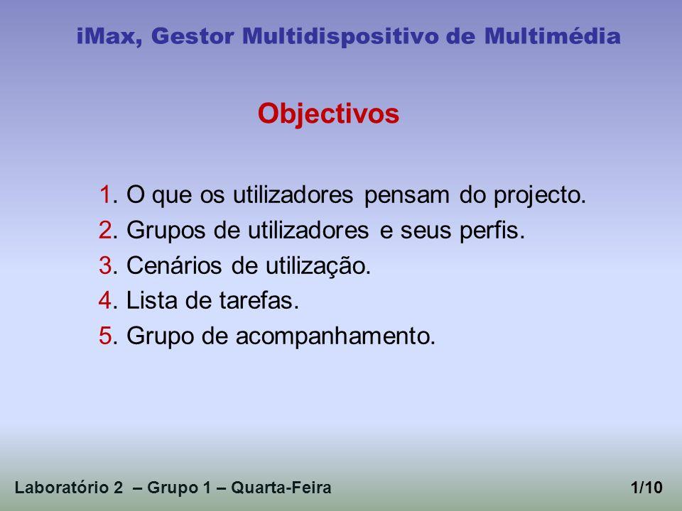 Laboratório 2 – Grupo 1 – Quarta-Feira2/10 iMax, Gestor Multidispositivo de Multimédia 1.