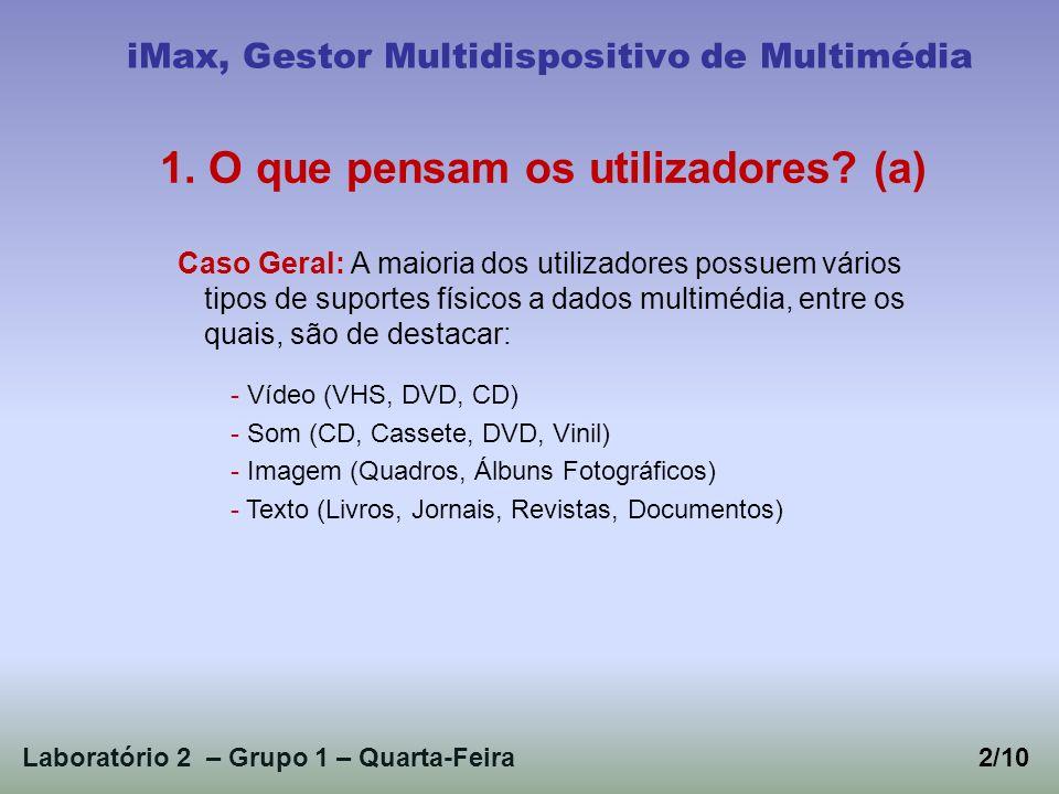 Laboratório 2 – Grupo 1 – Quarta-Feira2/10 iMax, Gestor Multidispositivo de Multimédia 1. O que pensam os utilizadores? (a) Caso Geral: A maioria dos