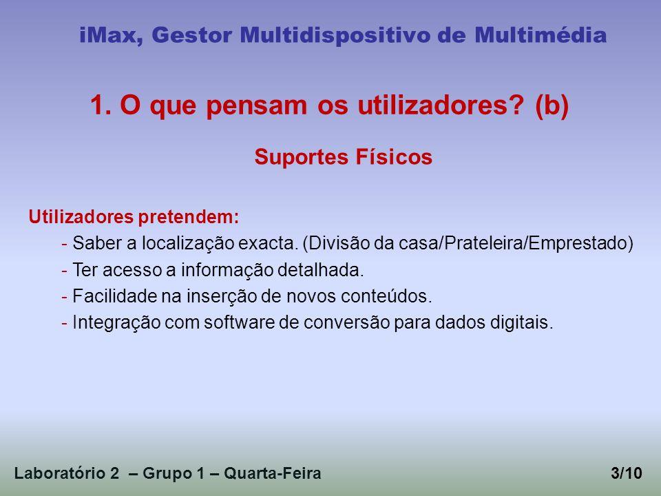 Laboratório 2 – Grupo 1 – Quarta-Feira3/10 iMax, Gestor Multidispositivo de Multimédia 1. O que pensam os utilizadores? (b) Suportes Físicos Utilizado