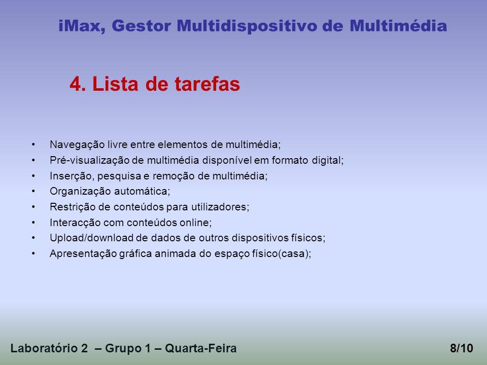 Laboratório 2 – Grupo 1 – Quarta-Feira8/10 iMax, Gestor Multidispositivo de Multimédia 4. Lista de tarefas Navegação livre entre elementos de multiméd