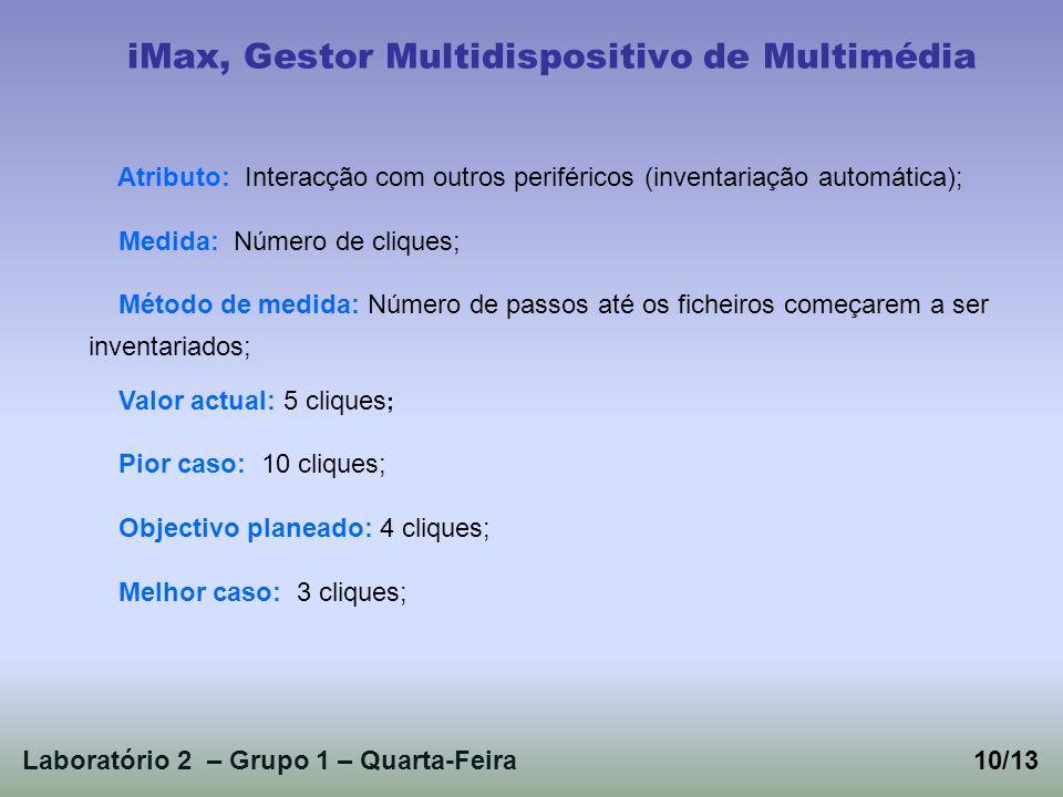 Laboratório 2 – Grupo 1 – Quarta-Feira10/13 iMax, Gestor Multidispositivo de Multimédia Atributo: Interacção com outros periféricos (inventariação aut