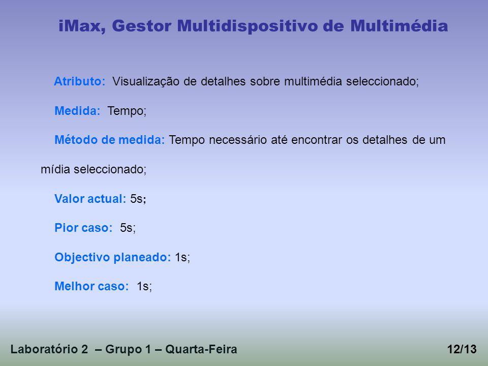 Laboratório 2 – Grupo 1 – Quarta-Feira12/13 iMax, Gestor Multidispositivo de Multimédia Atributo: Visualização de detalhes sobre multimédia selecciona