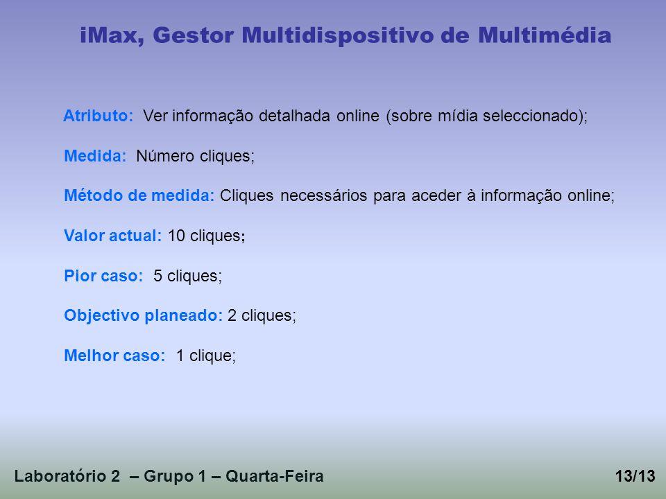 Laboratório 2 – Grupo 1 – Quarta-Feira13/13 iMax, Gestor Multidispositivo de Multimédia Atributo: Ver informação detalhada online (sobre mídia selecci
