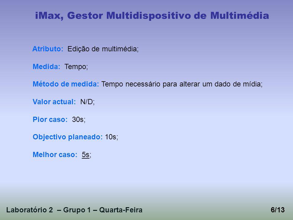 Laboratório 2 – Grupo 1 – Quarta-Feira6/13 iMax, Gestor Multidispositivo de Multimédia Atributo: Edição de multimédia; Medida: Tempo; Método de medida