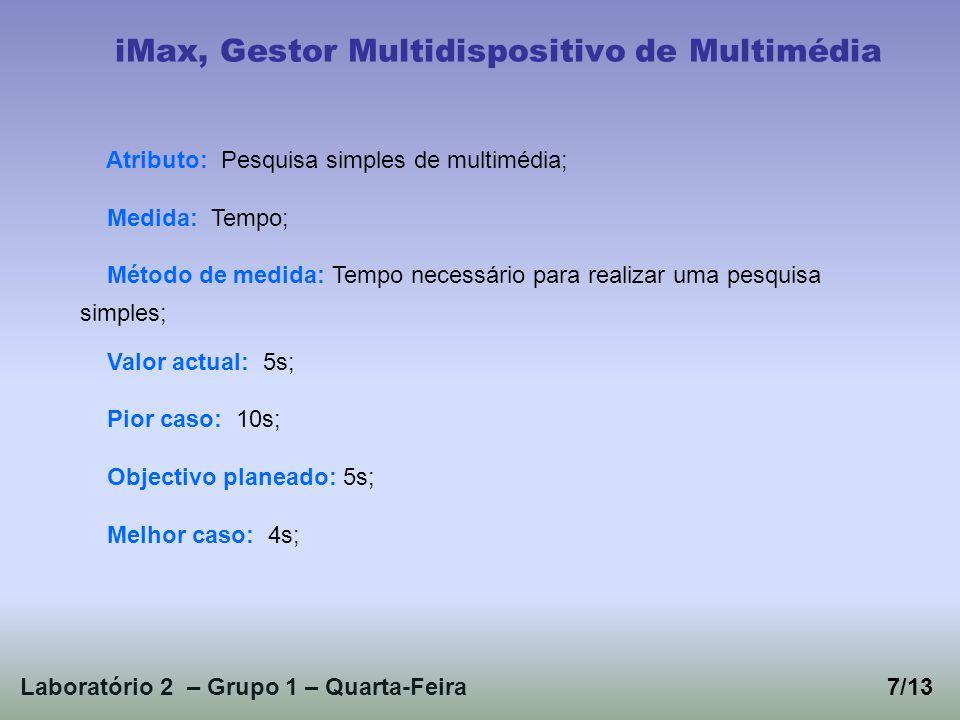 Laboratório 2 – Grupo 1 – Quarta-Feira7/13 iMax, Gestor Multidispositivo de Multimédia Atributo: Pesquisa simples de multimédia; Medida: Tempo; Método