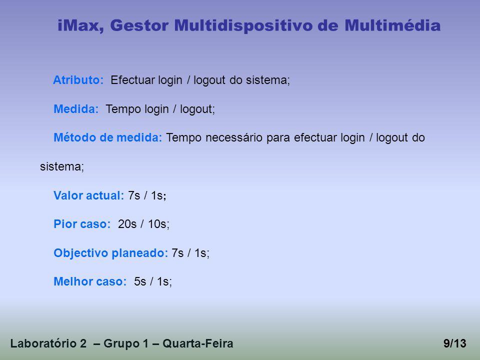 Laboratório 2 – Grupo 1 – Quarta-Feira9/13 iMax, Gestor Multidispositivo de Multimédia Atributo: Efectuar login / logout do sistema; Medida: Tempo login / logout; Método de medida: Tempo necessário para efectuar login / logout do sistema; Valor actual: 7s / 1s ; Pior caso: 20s / 10s; Objectivo planeado: 7s / 1s; Melhor caso: 5s / 1s;