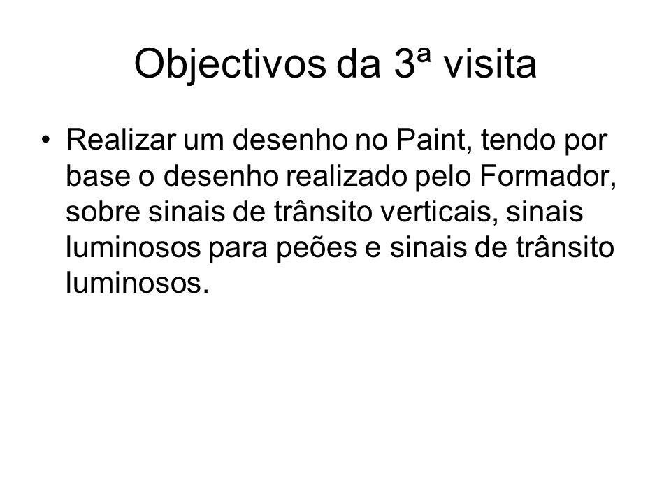 Objectivos da 3ª visita Realizar um desenho no Paint, tendo por base o desenho realizado pelo Formador, sobre sinais de trânsito verticais, sinais lum