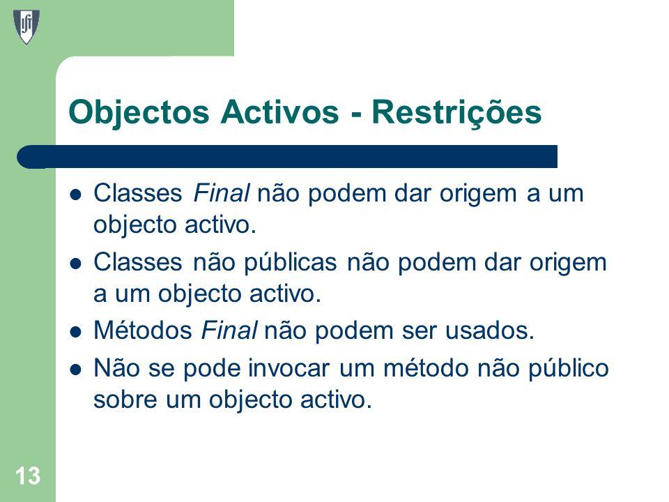 Objectos Activos - Restrições Classes Final não podem dar origem a um objecto activo.
