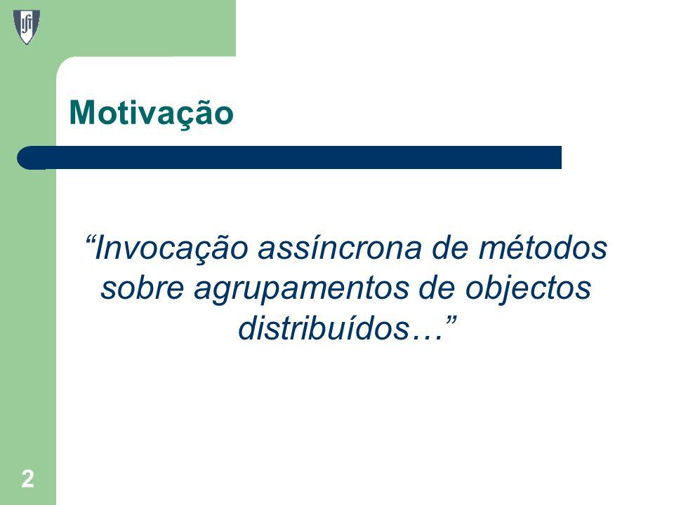 Motivação Invocação assíncrona de métodos sobre agrupamentos de objectos distribuídos… 2
