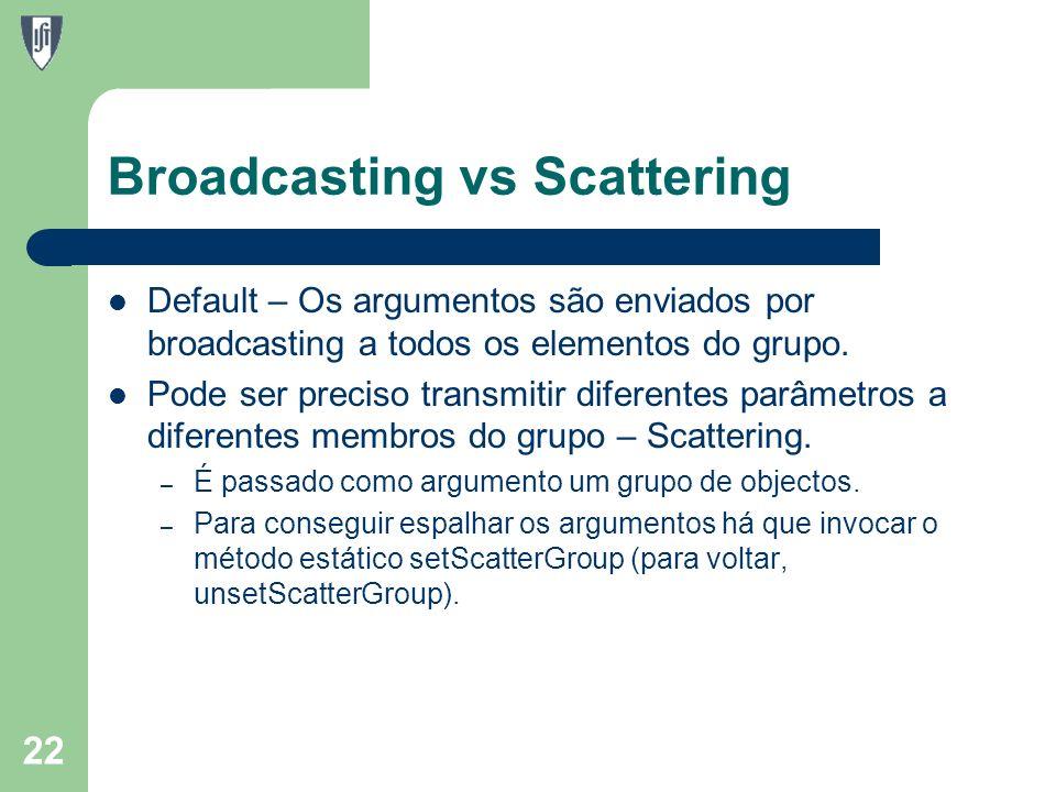Broadcasting vs Scattering Default – Os argumentos são enviados por broadcasting a todos os elementos do grupo.