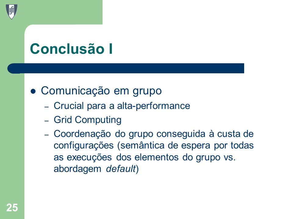 Conclusão I Comunicação em grupo – Crucial para a alta-performance – Grid Computing – Coordenação do grupo conseguida à custa de configurações (semântica de espera por todas as execuções dos elementos do grupo vs.