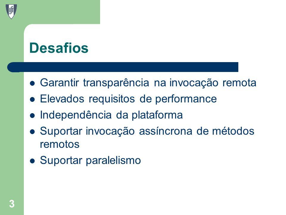 Desafios Garantir transparência na invocação remota Elevados requisitos de performance Independência da plataforma Suportar invocação assíncrona de métodos remotos Suportar paralelismo 3