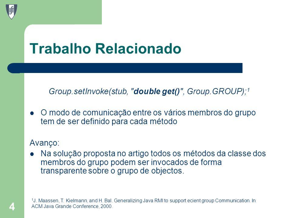 Trabalho Relacionado Group.setInvoke(stub, double get() , Group.GROUP); 1 O modo de comunicação entre os vários membros do grupo tem de ser definido para cada método Avanço: Na solução proposta no artigo todos os métodos da classe dos membros do grupo podem ser invocados de forma transparente sobre o grupo de objectos.