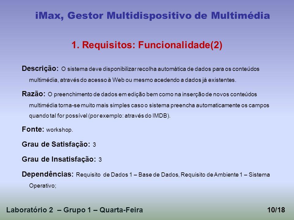 Laboratório 2 – Grupo 1 – Quarta-Feira10/18 iMax, Gestor Multidispositivo de Multimédia 1. Requisitos: Funcionalidade(2) Descrição: O sistema deve dis