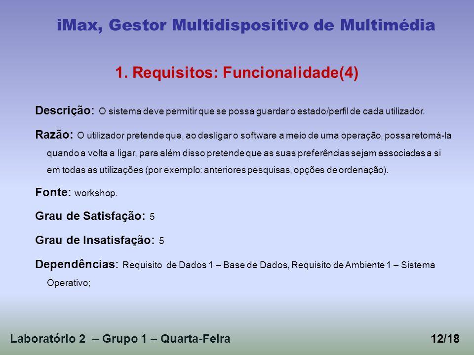 Laboratório 2 – Grupo 1 – Quarta-Feira iMax, Gestor Multidispositivo de Multimédia 1. Requisitos: Funcionalidade(4) Descrição: O sistema deve permitir