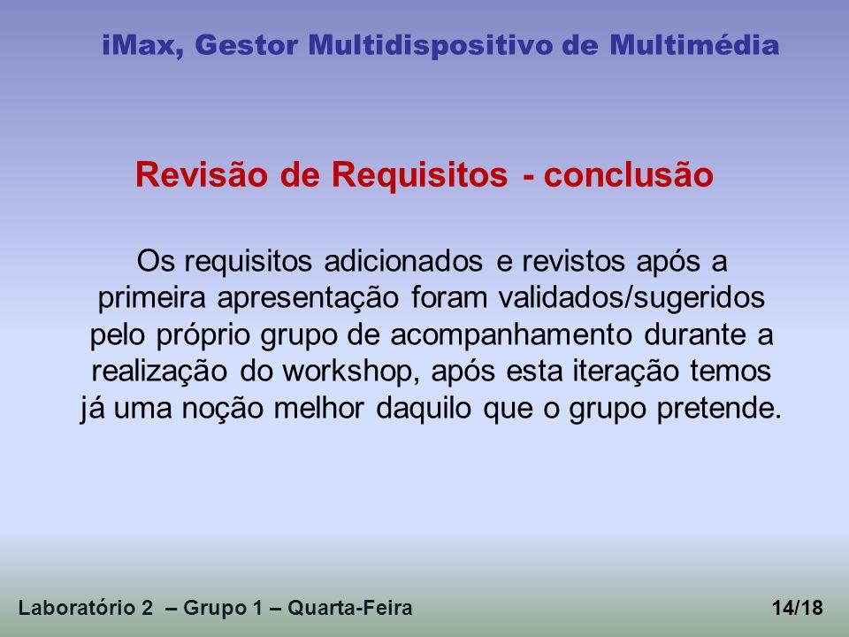 Laboratório 2 – Grupo 1 – Quarta-Feira iMax, Gestor Multidispositivo de Multimédia Os requisitos adicionados e revistos após a primeira apresentação f