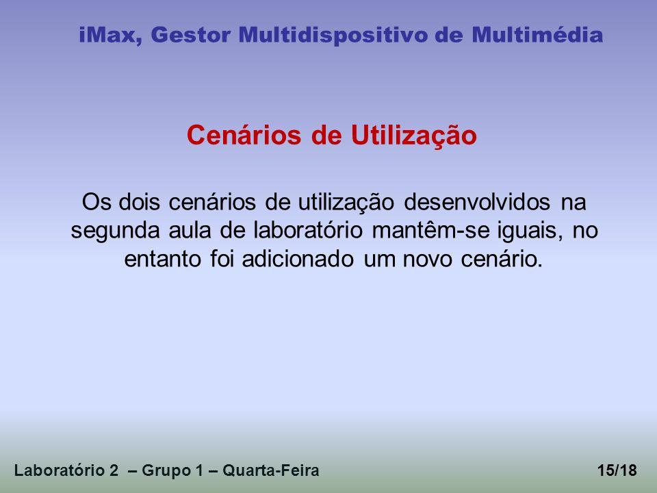 Laboratório 2 – Grupo 1 – Quarta-Feira iMax, Gestor Multidispositivo de Multimédia Os dois cenários de utilização desenvolvidos na segunda aula de lab